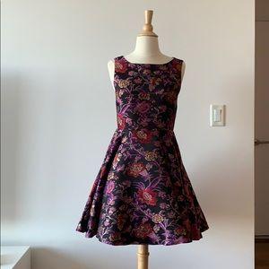 Open-Back Floral Jacquard Alice + Olivia Dress